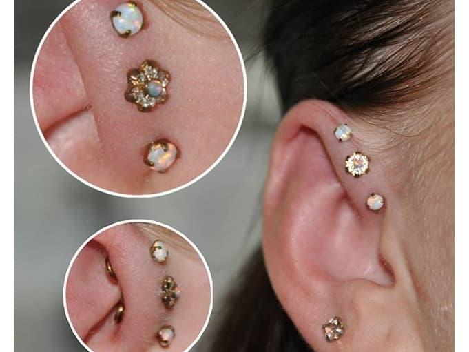 triple forward helix piercing gold jewelry