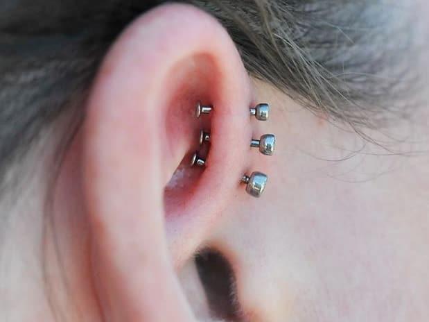 triple forward helix piercing jewelry idea
