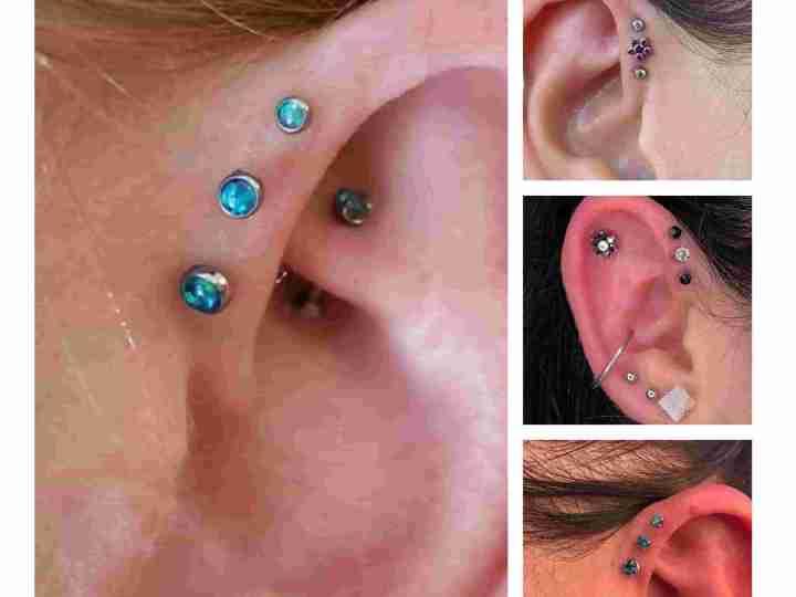 triple forward helix piercing studs