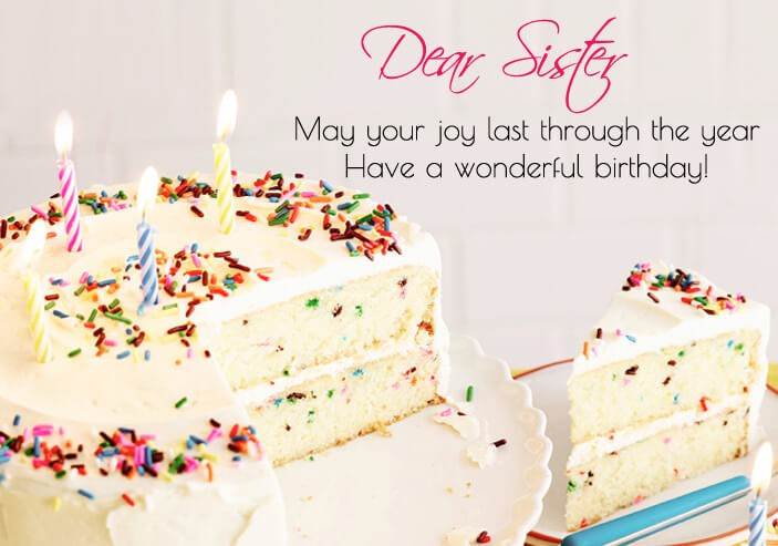 Cute Birthday Cake Wishes Quotes For Sister