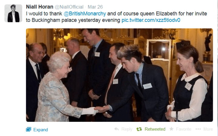 One Direction's Niall Horan thanks the Queen on Twitter.