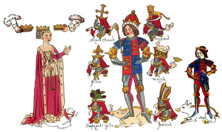 King Richard III and his family in the contemporary Rous Roll in the Heralds' College.
