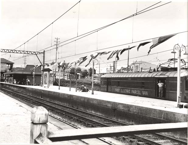 Sutherland Railway Station decorated for the visit of Queen Elizabeth II, 11 February 1954 Digital ID: 17420_a014_a014000172