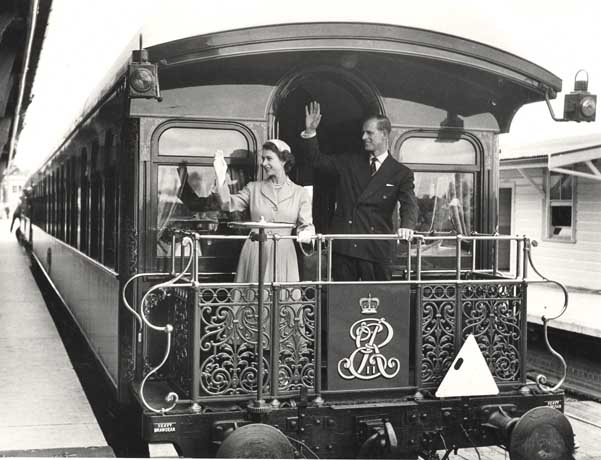 Queen Elizabeth II and Prince Phillip on the royal train at Central Railway Station, Sydney (NSW), in 1954. Source: State Records NSW