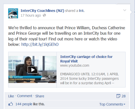 New Zealand's Intercity Coachlines media release on their Facebook page