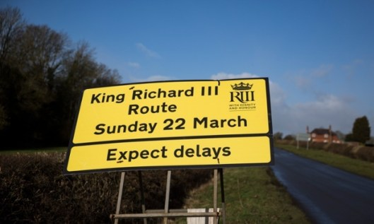 Expect traffic delays around Leicester. King Richard III Route road sign near Leicester.