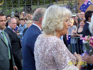 Prince Charles and the Duchess of Cornwall greet Australians outside the Opera House.
