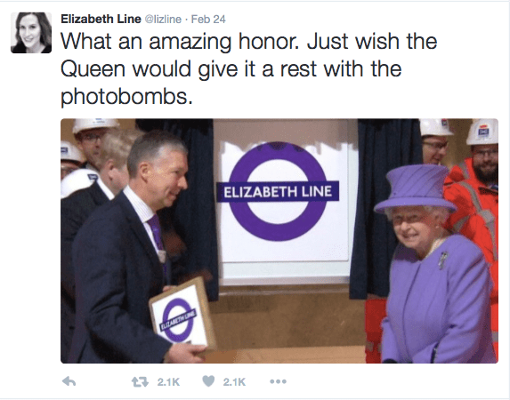 Elizabeth Line's post on Twitter.