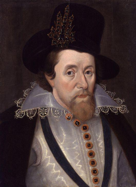 King James I of England and VI of Scotland. Portrait after John de Critz, c 1606