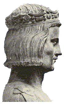 Louis IX of France, considered to be a true life image - Early 14th century statue from the church of Mainneville, Eure, France.