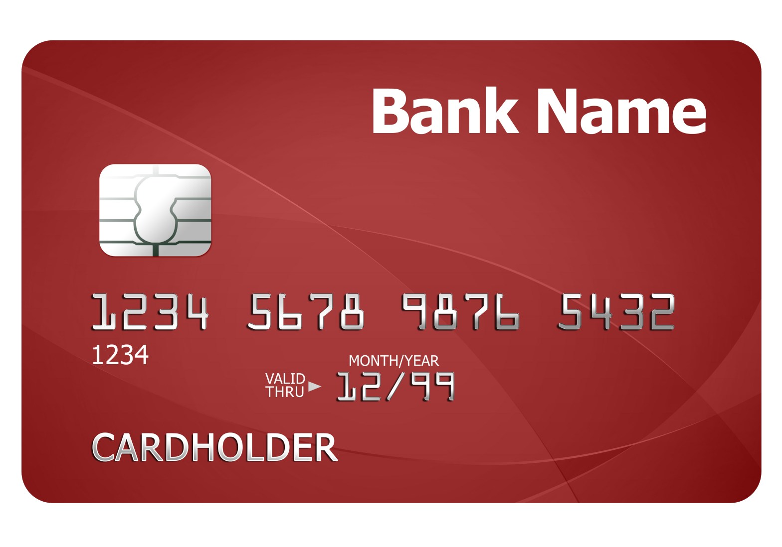 A sample debit card with test data on it.