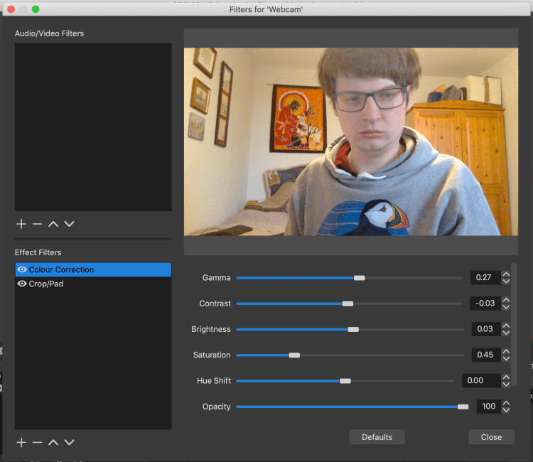 A preview image of an amateur AV engineer (yours truly) above some colour correction sliders.