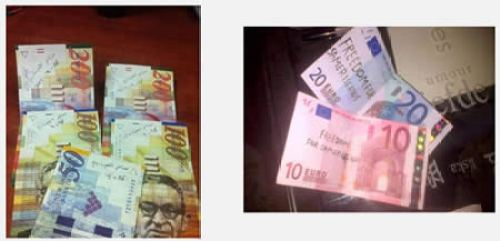 amer Issawis name written on Israeli currency and euros