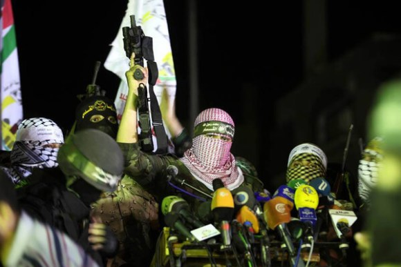 Hamas gunmen celebrate their victory