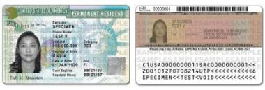 USA-GREEN-CARD Green Card USCIS Redesigned Green Card PRC Back Front CUT 1