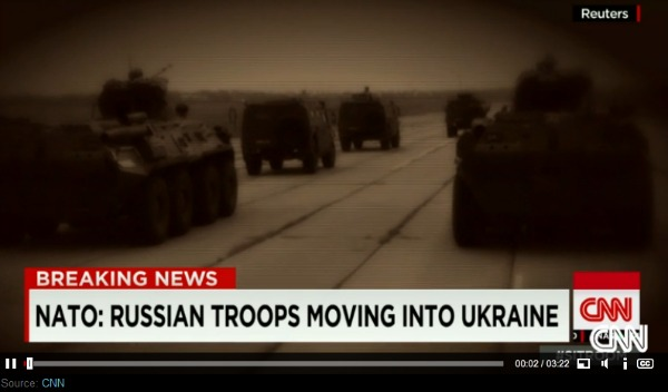 Russian Troops and Tanks Moving into Ukraine