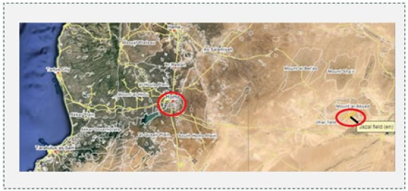 1 The Jazal oil field east of the city of Homs