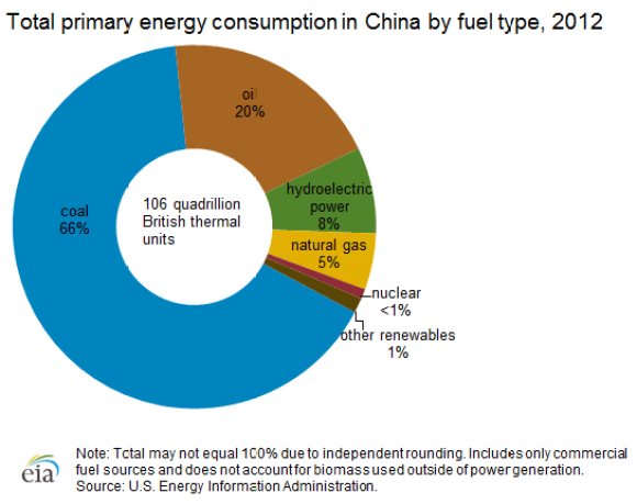 Total Primary Energy Consumption in China by Fuel Type 2012
