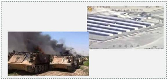 2 Iraqi APCs on fire after being attacked from the air