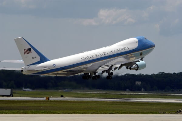 US Navy 050521-N-0295M-026 Air Force One takes off from Andrews Air Force Base Md. during the 2005 Joint Service Open House