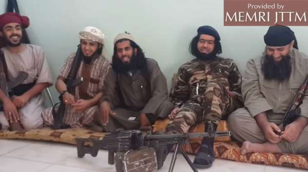 5 ISIS fighters singing a nashid at a social gathering 600