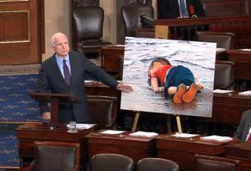 "This is deplorable! Didn't McCain do some fact checking before he went to the Senate floor with this shameful propaganda. That poor baby is dead because his Dad wanted free teeth in Europe! It has nothing to do with the US not doing anything ""meaningful."" https://refugeeresettlementwatch.wordpress.com/2015/09/07/dead-toddlers-father-wanted-to-go-to-europe-to-get-new-teeth/"