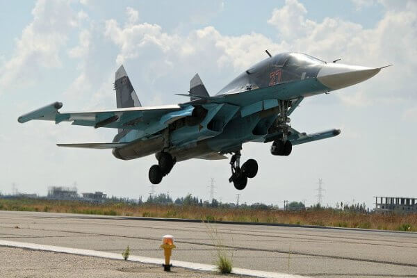 Su-34 lands at Latakia airport Syria 600