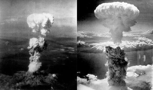 By Nagasakibomb.jpg: The picture was taken by Charles Levy from one of the B-29 Superfortresses used in the attack.Atomic_cloud_over_Hiroshima.jpg: Personel aboard Necessary Evilderivative work: Binksternet (talk) - Nagasakibomb.jpgAtomic_cloud_over_Hiroshima.jpg, CC BY-SA 3.0, https://commons.wikimedia.org/w/index.php?curid=12204929