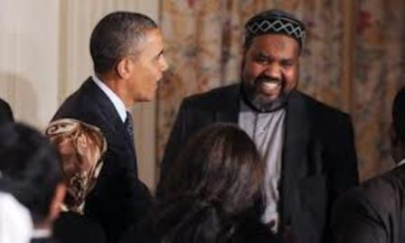 President Obama with Muslim Brotherhood/Hamas leader (Islamic Society of North America) Imam Mohamed Magid of the ADAMS Center in Sterling, Virginia