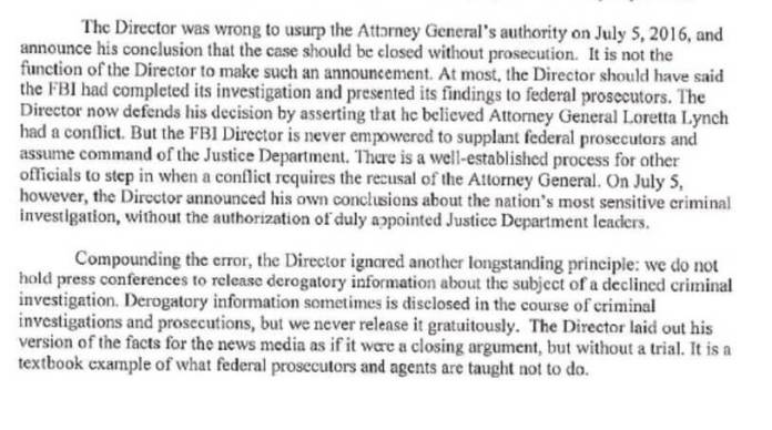The most substantive part of the allegation by Deputy AG Rod Rosenstein against (now former) FBI Director James Comey