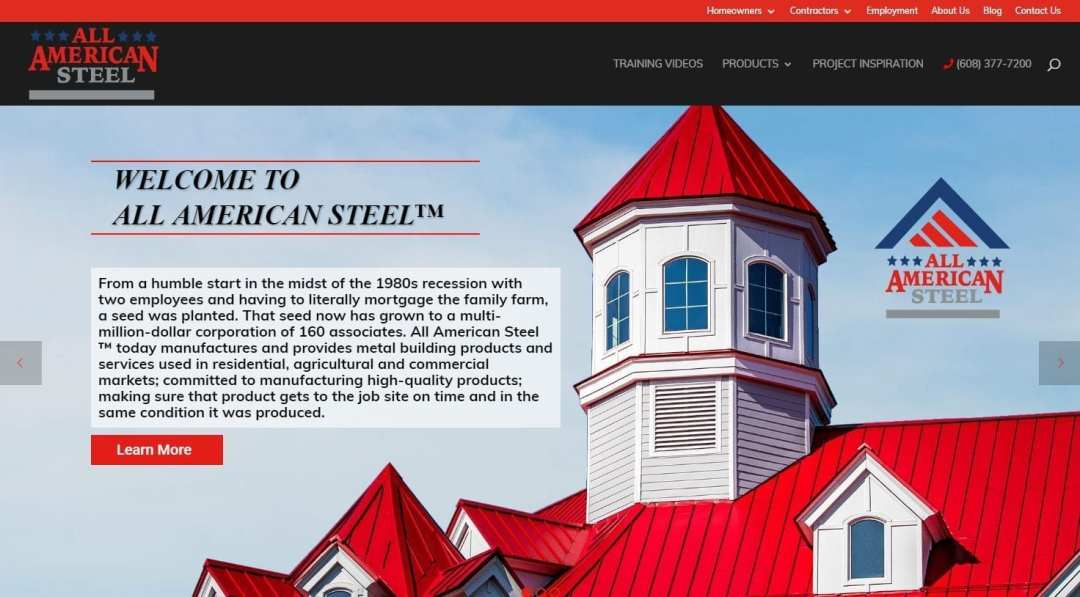 All American Steel Website screenshot for project page by Right to Evolve