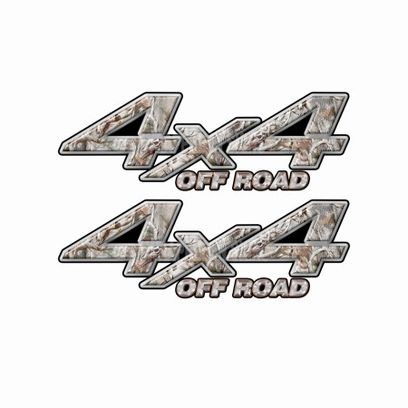4X4 OFF ROAD Snow Buck Skull Camo Bedside Truck Decals 2 pack (ka) 1