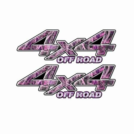 4X4 OFF ROAD Pink Tall Grass Camo Bedside Truck Decals 2 Pack (ka) 1