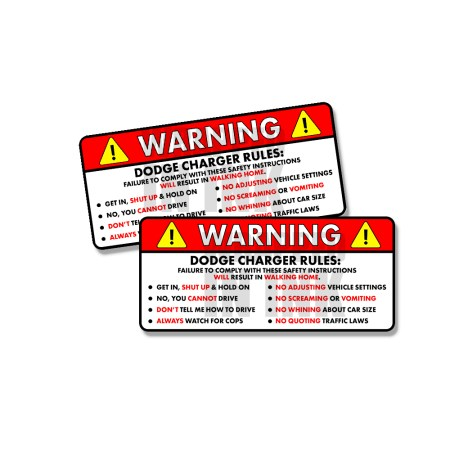 Dodge Charger Rules Funny Safety Instruction Stickers 1