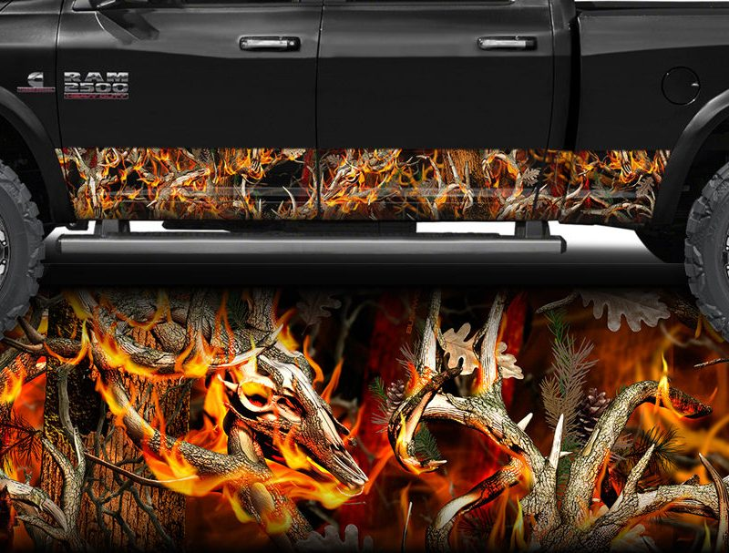 Obliteration Buck Blaze Camo Rocker Panel Wrap