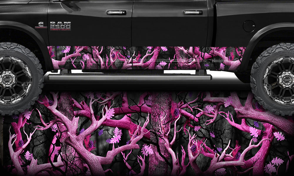 Pink Obliteration Camo Rocker Panel Wrap