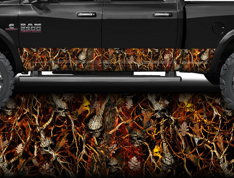 Skull Obliteration Blaze Camo Rocker Panel Wrap