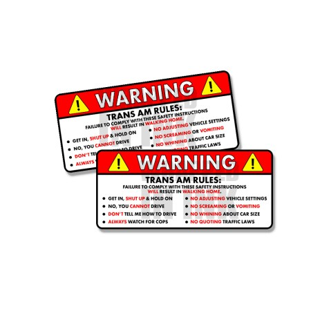 Trans Am Funny Safety Instruction Stickers 2 PACK 1