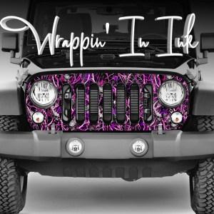 Jeep Pink Camo Grill Wrap Skulls