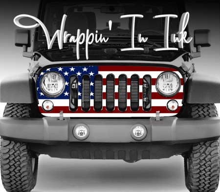 American Flag Jeep Grill Wrap for the 2007-2018 Jeep Wrangler