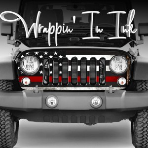 Jeep Wrangler Grill Wrap. Thin Red Line Subdued American Flag Firefighter Support.
