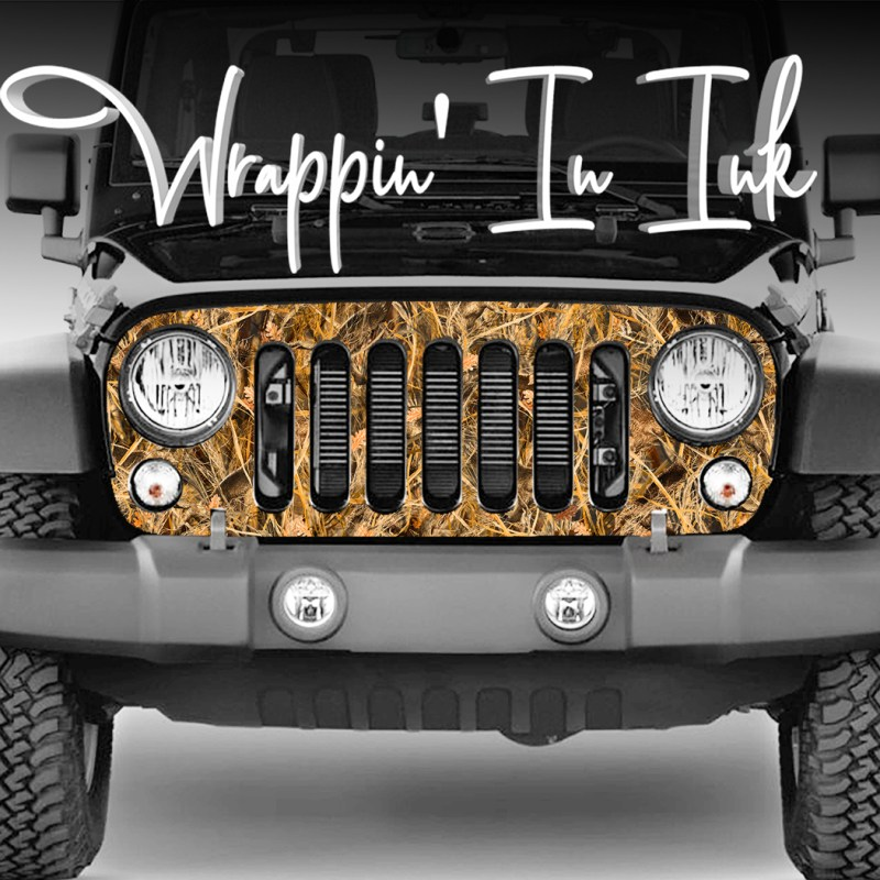 Jeep Wrangler Grill Wrap Duck Hunting Camo