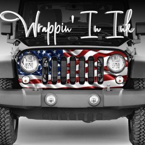 2007-2018 Jeep Grill Wraps Waving Flag American Flag Red White Blue