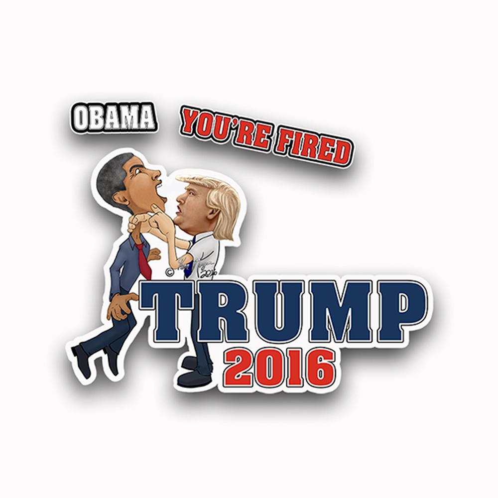 Trump Caricature Obama Youre Fired Sticker