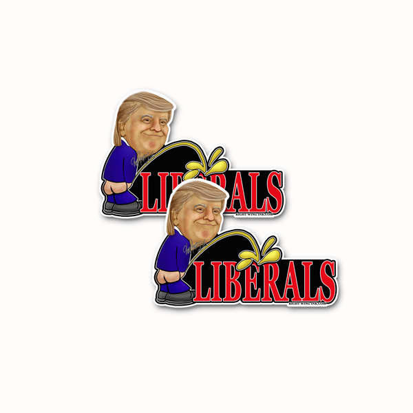 Trump Peeing on Liberals Stickers