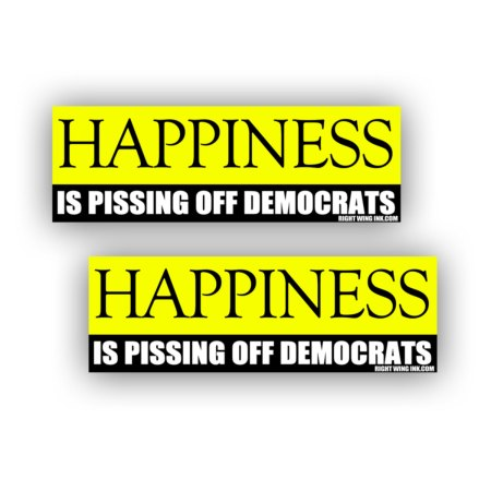Happiness Is Pissing Off Democrats Stickers 2 Pack 1
