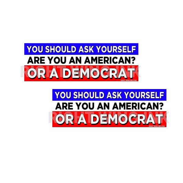 You Should Ask Yourself Are you An American Or Democrat Stickers 2 Pack 1
