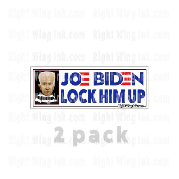 Lock Him Up Stickers Caricature Joe Biden Wt 2 Pack