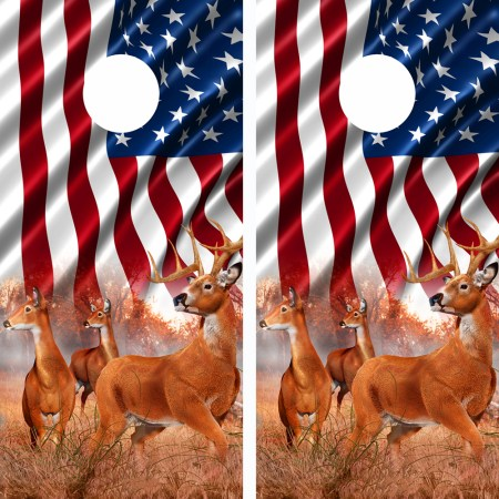 American Flag Buck N Deer Cornhole Board Wraps