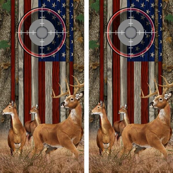 American Flag Forest Buck n-Deer Wood Cornhole Board Wraps 11 Scope